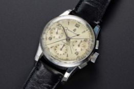 A VERY RARE GENTLEMAN'S STAINLESS STEEL BREITLING DUOGRAPH SPLIT SECONDS CHRONOGRAPH WRIST WATCH