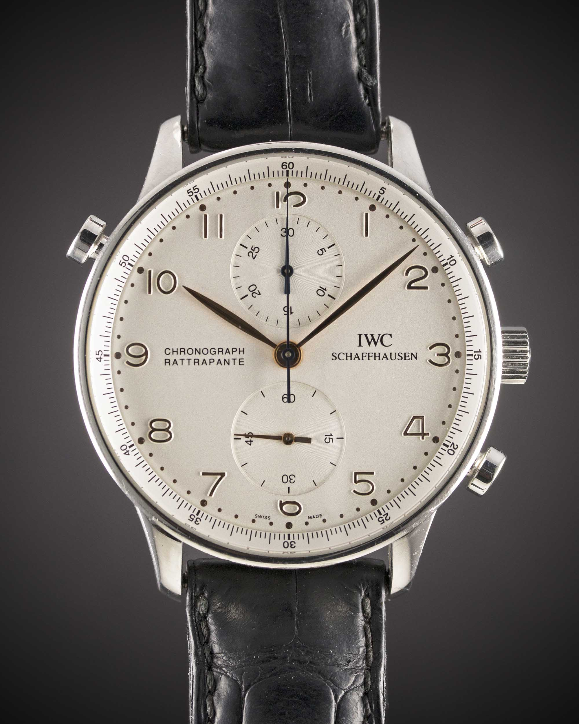 Lot 47 - A GENTLEMAN'S STAINLESS STEEL IWC PORTUGUESE RATTRAPANTE CHRONOGRAPH WRIST WATCH CIRCA 2000s, REF.