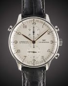 A GENTLEMAN'S STAINLESS STEEL IWC PORTUGUESE RATTRAPANTE CHRONOGRAPH WRIST WATCH CIRCA 2000s, REF.