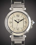 "A GENTLEMAN'S LARGE SIZE STAINLESS STEEL CARTIER PASHA XL ""JUMBO"" AUTOMATIC BRACELET WATCH DATED"