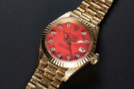 A RARE LADIES 18K SOLID GOLD ROLEX OYSTER PERPETUAL DATEJUST BRACELET WATCH CIRCA 1973, REF. 6917