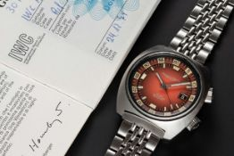 A RARE GENTLEMAN'S STAINLESS STEEL IWC AQUATIMER 30ATM AUTOMATIC DIVERS BRACELET WATCH DATED 1974,