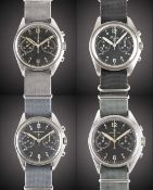 """A COMPLETE SET OF GENTLEMAN'S STAINLESS STEEL BRITISH MILITARY """"FAB FOUR"""" RAF PILOTS CHRONOGRAPH"""
