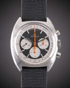 """A GENTLEMAN'S STAINLESS STEEL LEMANIA CHRONOGRAPH WRIST WATCH CIRCA 1970s, REF. 9655 WITH """"REVERSE"""