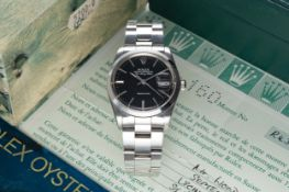 A GENTLEMAN'S STAINLESS STEEL ROLEX OYSTER PERPETUAL AIR KING DATE BRACELET WATCH DATED 1989, REF.