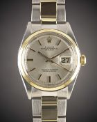 A GENTLEMAN'S STEEL & GOLD ROLEX OYSTER PERPETUAL DATEJUST BRACELET WATCH CIRCA 1976, REF. 1600 WITH