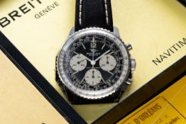 A GENTLEMAN'S STAINLESS STEEL BREITLING NAVITIMER CHRONOGRAPH WRIST WATCH DATED 1971, REF. 806