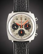 A GENTLEMAN'S STAINLESS STEEL BREITLING TOP TIME CHRONOGRAPH WRIST WATCH CIRCA 1969, REF. 814