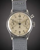 A RARE GENTLEMAN'S STAINLESS STEEL ROYAL RHODESIAN AIR FORCE MILITARY LEMANIA SINGLE BUTTONPILOTS
