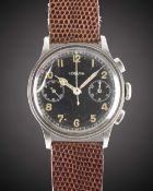 A RARE GENTLEMAN'S LARGE SIZE STAINLESS STEEL LEMANIA 15TL CHRONOGRAPH WRIST WATCH CIRCA 1940,