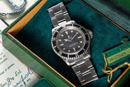 A GENTLEMAN'S STAINLESS STEEL ROLEX OYSTER PERPETUAL SUBMARINER BRACELET WATCH DATED 1972, REF. 5513
