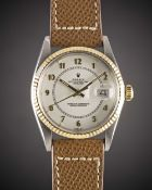 A GENTLEMAN'S STEEL & GOLD ROLEX OYSTER PERPETUAL DATEJUST WRIST WATCH CIRCA 1984, REF. 16013 WITH