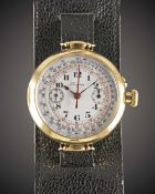 A RARE GENTLEMAN'S 18K SOLID GOLD LONGINES MONO-PUSHER CHRONOGRAPH WRIST WATCH DATED 1917, WITH