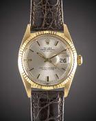 A GENTLEMAN'S 18K SOLID GOLD ROLEX OYSTER PERPETUAL DATEJUST WRIST WATCH CIRCA 1967, REF. 1601