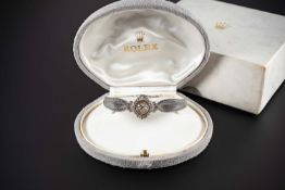 A FINE LADIES 18K SOLID WHITE GOLD & DIAMOND ROLEX PRECISION COCKTAIL BRACELET WATCH CIRCA 1960,