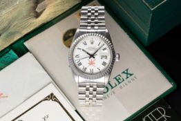 A VERY RARE GENTLEMAN'S STAINLESS STEEL ROLEX OYSTER PERPETUAL DATEJUST BRACELET WATCH CIRCA 1980,