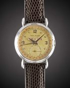 A GENTLEMAN'S STAINLESS STEEL JAEGER LECOULTRE TRIPLE CALENDAR WRIST WATCH CIRCA 1940s, WITH ROSE