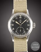 A GENTLEMAN'S STAINLESS STEEL BRITISH MILITARY OMEGA W.W.W. WRIST WATCH CIRCA 1940s, PART OF THE ""