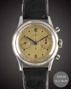A GENTLEMAN'S LARGE SIZE STAINLESS STEEL ANGELUS HERMETIQUE CHRONOGRAPH WRIST WATCH CIRCA 1940s