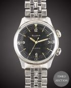 A RARE GENTLEMAN'S STAINLESS STEEL BULOVA SELFWINDING SUPER WATERPROOF BRACELET WATCH CIRCA 1960s,