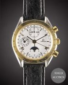 A GENTLEMAN'S STEEL & GOLD OMEGA SPEEDMASTER MOONPHASE TRIPLE CALENDAR AUTOMATIC CHRONOGRAPH WRIST