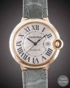 A LARGE SIZE 18K SOLID ROSE GOLD CARTIER BALLON BLEU AUTOMATIC WRIST WATCH CIRCA 2010, REF. 2999