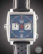 "A GENTLEMAN'S STAINLESS STEEL TAG HEUER ""STEVE MCQUEEN"" MONACO AUTOMATIC CHRONOGRAPH WRIST WATCH"