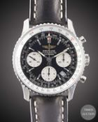 A GENTLEMAN'S STAINLESS STEEL BREITLING NAVITIMER CHRONOGRAPH WRIST WATCH DATED 2006, REF. A23322
