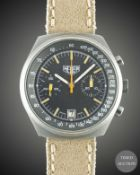 A GENTLEMAN'S PVD COATED HEUER CHRONOGRAPH WRIST WATCH CIRCA 1970s,  Movement: 17J, manual wind,