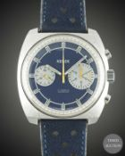 "A GENTLEMAN'S STAINLESS STEEL KELEK ""BIG EYE"" CHRONOGRAPH WRIST WATCH CIRCA 1970s, WITH BLUE DIAL"