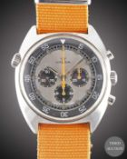 A GENTLEMAN'S STAINLESS STEEL LEMANIA DIVERS CHRONOGRAPH WRIST WATCH CIRCA 1970s, REF. 9658