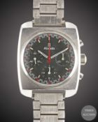 A GENTLEMAN'S STAINLESS STEEL NIVADA CHRONOGRAPH BRACELET WATCH CIRCA 1970, REF. 85014 WITH