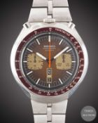 "A GENTLEMAN'S STAINLESS STEEL SEIKO ""BULLHEAD"" AUTOMATIC CHRONOGRAPH BRACELET WATCH CIRCA 1970s,"