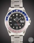 "A RARE GENTLEMAN'S STAINLESS STEEL ROLEX OYSTER PERPETUAL DATE GMT MASTER ""PEPSI"" BRACELET WATCH"