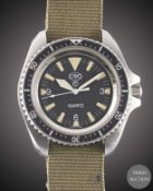 A GENTLEMAN'S STAINLESS STEEL BRITISH MILITARY CWC QUARTZ ROYAL NAVY MARINES DIVERS WRIST WATCH
