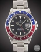 A GENTLEMAN'S STAINLESS STEEL ROLEX OYSTER PERPETUAL DATE GMT MASTER BRACELET WATCH CIRCA 1984, REF.