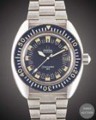 "A GENTLEMAN'S STAINLESS STEEL OMEGA SEAMASTER 120 ""DEEP BLUE"" BRACELET WATCH CIRCA 1969, REF. 166."