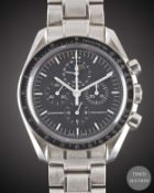 A GENTLEMAN'S STAINLESS STEEL OMEGA SPEEDMASTER PROFESSIONAL MOONPHASE CHRONOGRAPH BRACELET WATCH