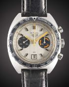 "A GENTLEMAN'S STAINLESS STEEL HEUER AUTAVIA CHRONOGRAPH WRIST WATCH CIRCA 1970s, REF. 73463 ""ORANGE"