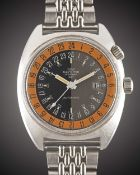 "A GENTLEMAN'S STAINLESS STEEL GLYCINE AIRMAN SST ""PUMPKIN"" 24 HOUR AUTOMATIC BRACELET WATCH CIRCA"