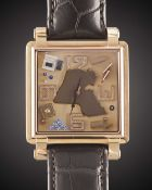 A GENTLEMAN'S 18K SOLID ROSE GOLD JACOB & CO KUWAIT WRIST WATCH CIRCA 2005, LIMITED EDITION WITH