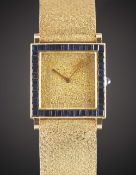 A FINE 18K SOLID YELLOW GOLD & SAPPHIRE BOUCHERON BRACELET WATCH CIRCA 1970s, REF. 2443  Movement: