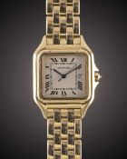 A GENTLEMAN'S SIZE 18K SOLID GOLD CARTIER PANTHERE BRACELET WATCH CIRCA 1990s Movement: Quartz,