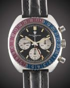 A GENTLEMAN'S STAINLESS STEEL NIVADA GRENCHEN GMT CHRONOGRAPH WRIST WATCH DATED 1971, REF. 85009
