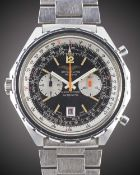 A GENTLEMAN'S STAINLESS STEEL IRAQI MILITARY AIR FORCE BREITLING NAVITIMER AUTOMATIC CHRONOGRAPH