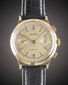 A GENTLEMAN'S LARGE SIZE 18K SOLID ROSE GOLD EBERHARD & CO EXTRA FORT CHRONOGRAPH WRIST WATCH