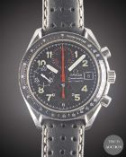 A GENTLEMAN'S STAINLESS STEEL OMEGA SPEEDMASTER AUTOMATIC CHRONOGRAPH WRIST WATCH CIRCA 1997