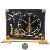"""A JAEGER LECOULTRE TABLE CLOCK CIRCA 1960s WITH """"STICK"""" MOVEMENT & CHINOISERIE DECORATION Movement:"""