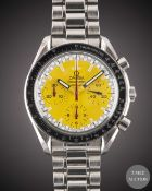 "A GENTLEMAN'S STAINLESS STEEL OMEGA SPEEDMASTER ""SCHUMACHER"" AUTOMATIC CHRONOGRAPH BRACELET WATCH"