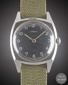 A GENTLEMAN'S STAINLESS STEEL LEMANIA CZECH MILITARY PILOTS WRIST WATCH CIRCA 1940s Movement: 17J,